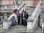 Singers entertain on the steps
